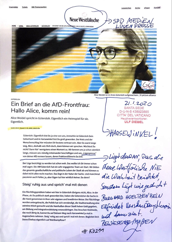 #K0211 l Gütersloh - Ein Brief an die AfD-Frontfrau: Hallo Alice, komm rein!