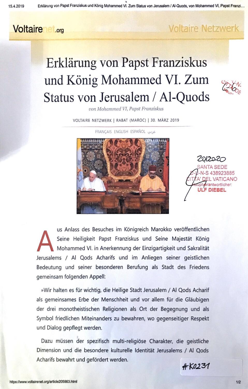 #K0231 l Erklärung von Papst Franziskus und König Mohammed VI. Zum Status von Jerusalem / Al-Quods