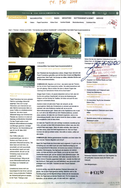 #K0270 l Domradio.de - Linkenpolitiker Gysi bietet Papst Zusammenarbeit an l Ich fürchte eine gottlose Gesellschaft