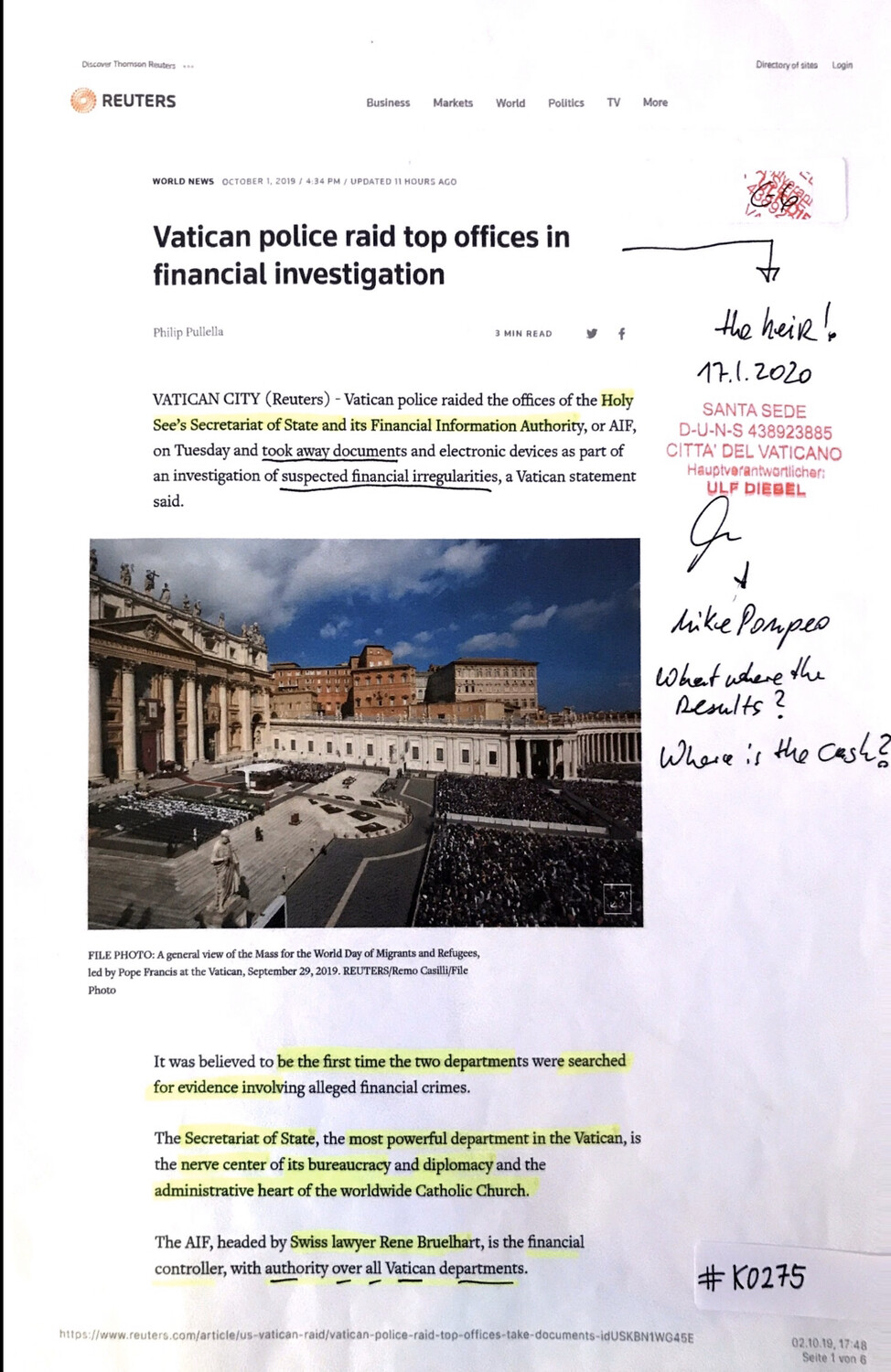 #K0275 l Reuters - Vatican police raid top offices in financial investigation