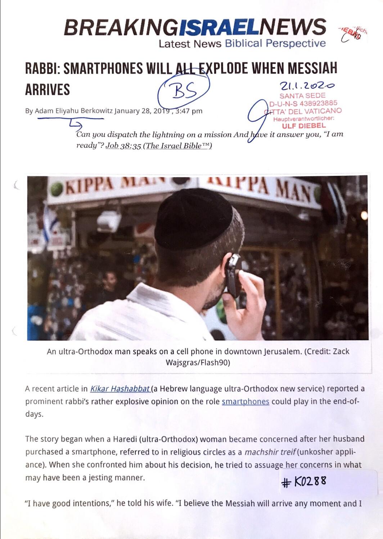#K0288 l Breaking Israel News - Rabbi: Smartphones will all explode when Messiah arrives