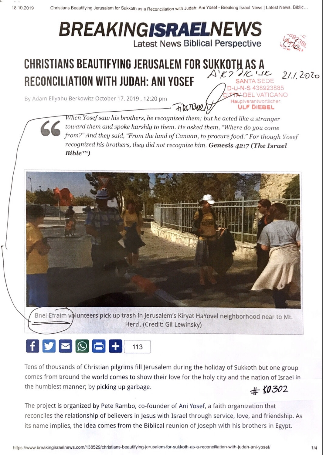#K0302 l Breaking Israel News - Christians beautifying Jerusalem for Sukkoth as a reconciliation with Judah: Ani Yosef
