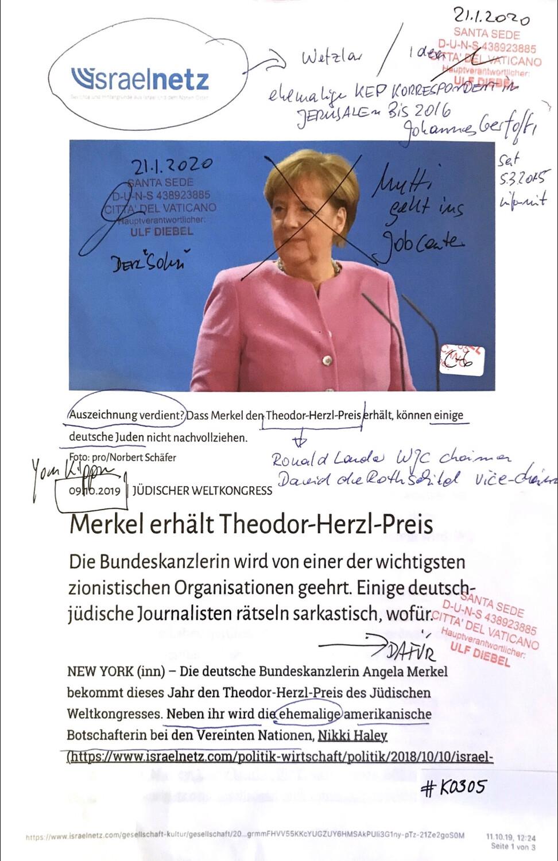#K0305 l israelnetz - Jüdischer Weltkongress l Merkel erhält Theodor-Herzl Preis