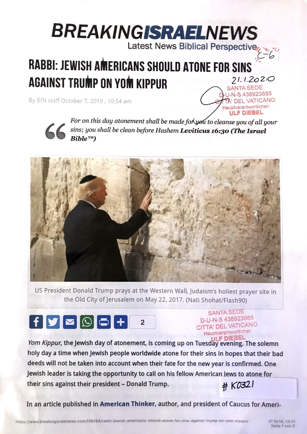 #K0321 l Breaking Israel News - Rabbi: Jewish Americans should atone for sins against Trump on Yom Kippur