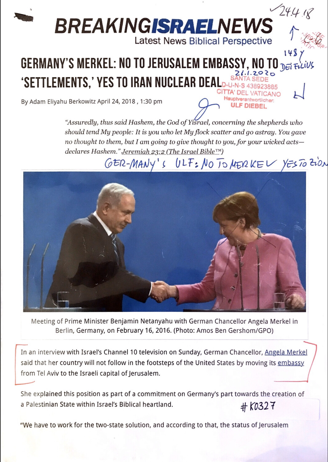 #K0327 l Breaking Israel News - Germany's Merkel: No to Jerusalem Embassy, no to 'Settlements,'Yes to Iran Nuclear Deal