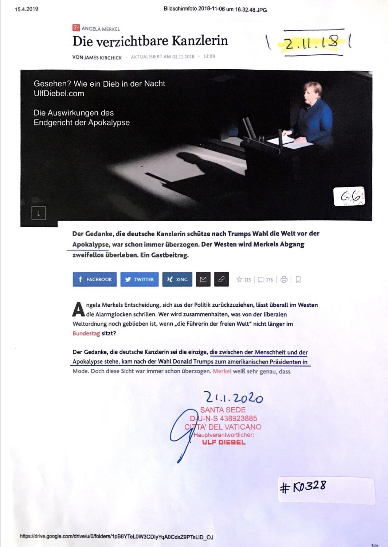 #K0328 l Angela Merkel - Die Verzicht Arne Kanzlerin l Gesehen? Wie ein Dieb in der Nacht, UlfDiebel.com