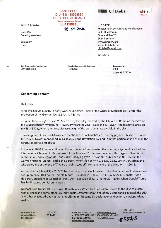 #K0043 l 70 years Israel - Concerning Ephraim l Letter to Rabbi Tuly Weisz - Breaking Israel News