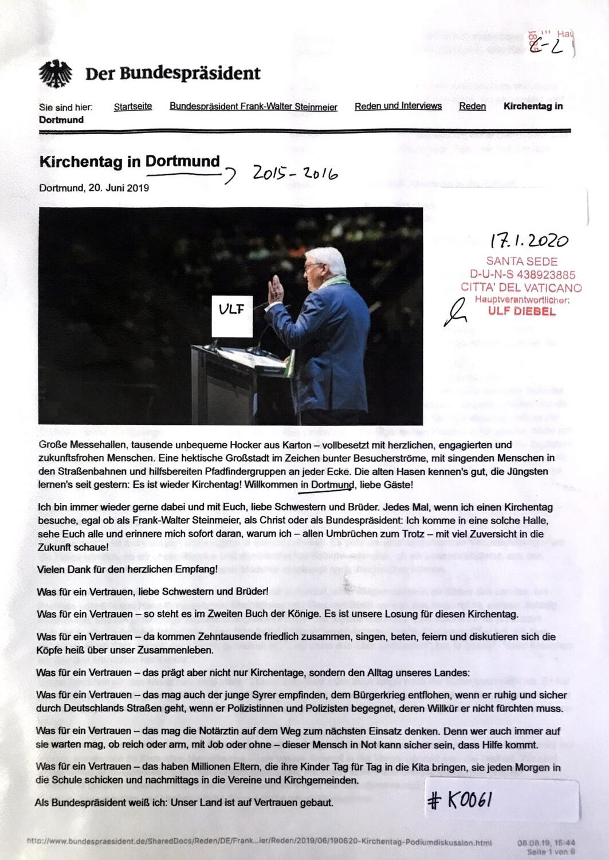 #K0061 l Kirchentag in Dortmund - Der Bundespräsident l 20.06.2019