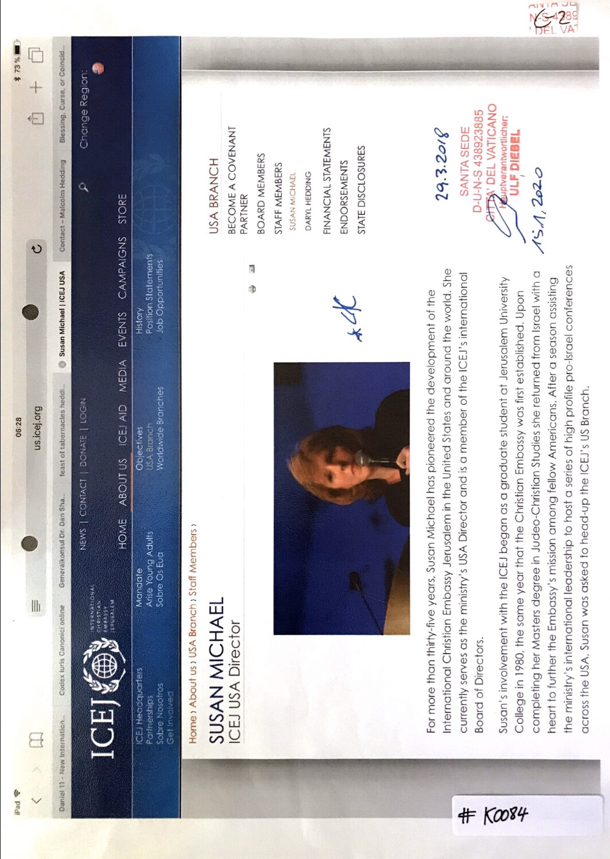 #K0084 l ICEJ - Susan Michael, ICEJ USA Director
