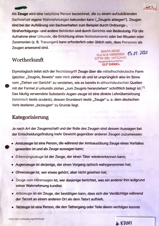 #K0001 l Zeuge - Definition, Wortherkunft und Kategorisierung
