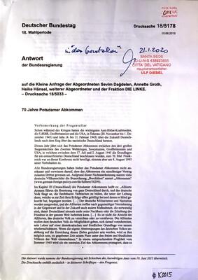 #K0015 l 70 Jahre Potsdamer Abkommen - Antwort der Bundesriegerung