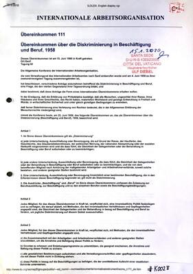 #K0028 l Internationale Arbeitsorganisation - Übereinkommen 111