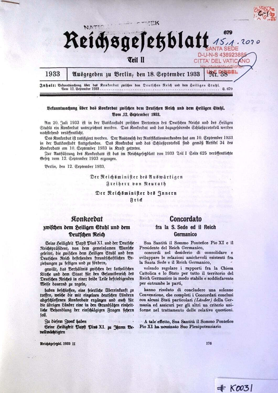 #K0031 l Konkordat zwischen dem Heiligen Stuhl und dem deutschen Reich  l Reichsgesetzblatt Teil 2