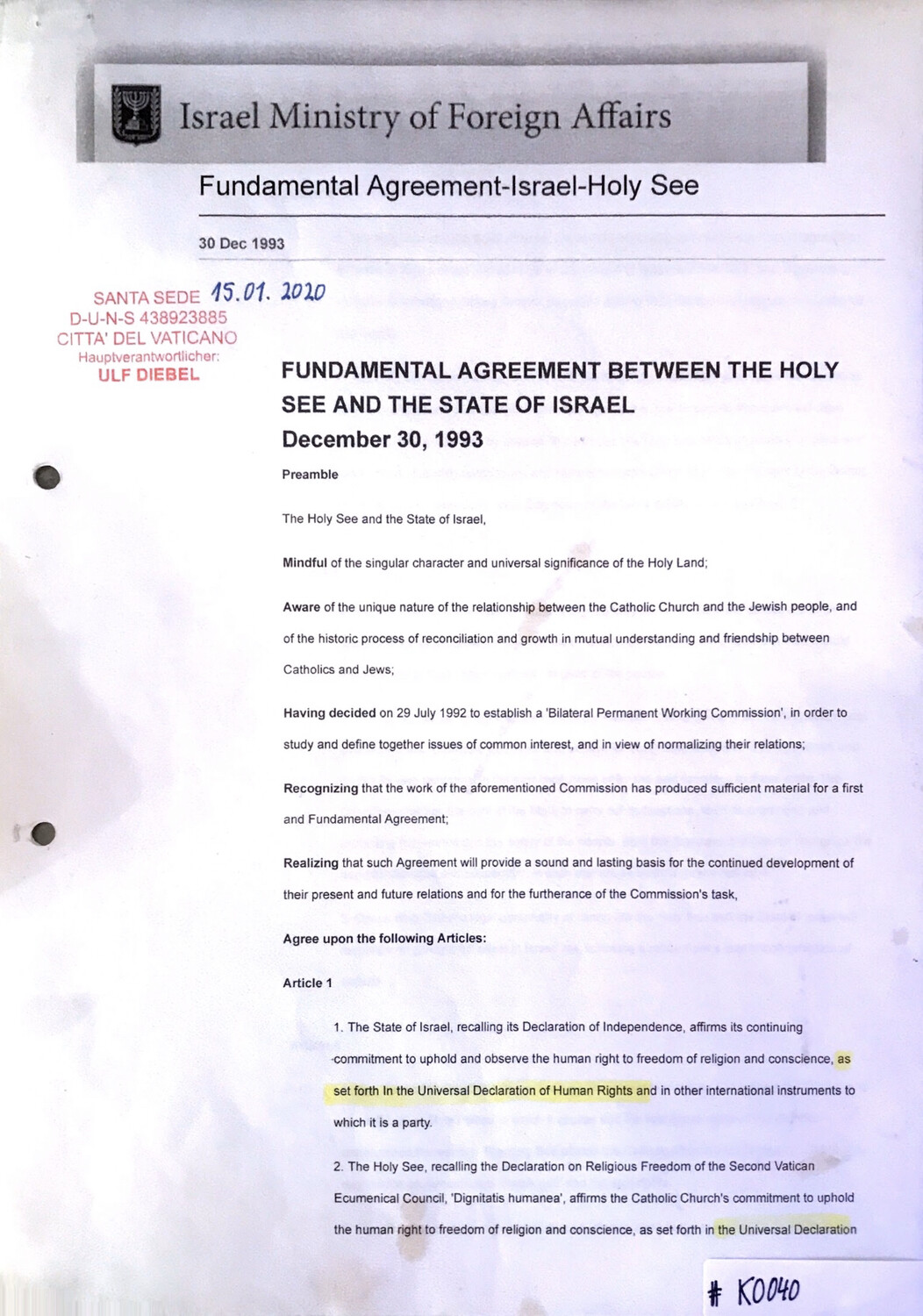 #K0040 l Israel Ministry of Foreign Affairs - Fundamental Agreement between the Holy See and the State of Israel l December 30,1993