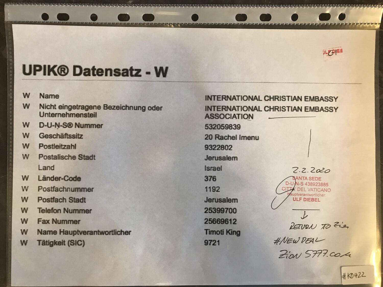 #K0422 l DUNS - International Christian Embassy