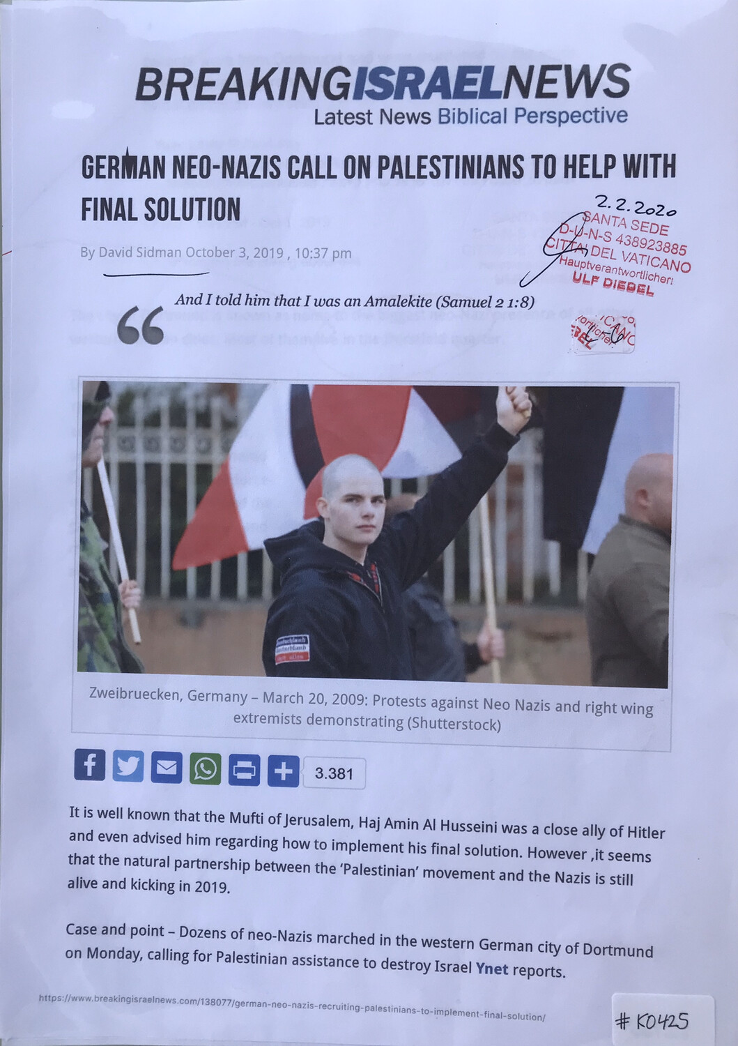 #K0425 l Breaking Israel News - German Neo-Nazis call on Palestinians to help with final solution by David Sidman