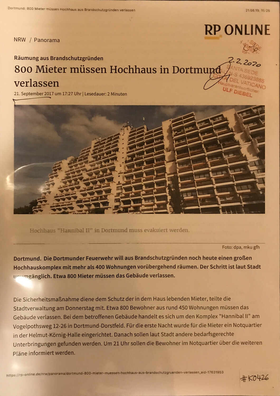 #K0426 l Räumung aus Brandschutzgründen - 800 Mieter müssen Hochhaus in Dortmund verlassen