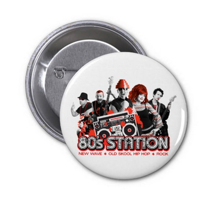 80's Station Pin Back Buttons White Only