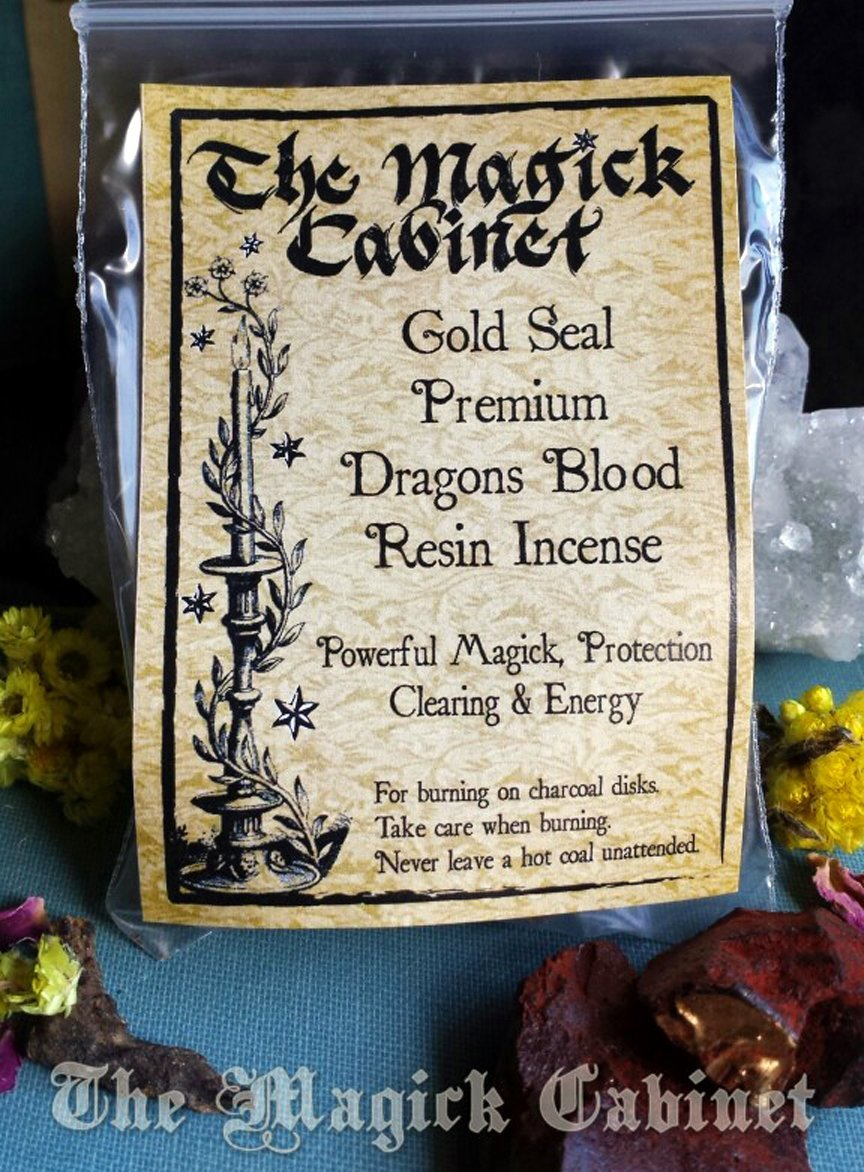 Premium Gold Seal Dragons Blood Resin Incense, Natural Incense for Space  Clearing, Purification, Exorcism, Power, Sex Spells, Love Spells and