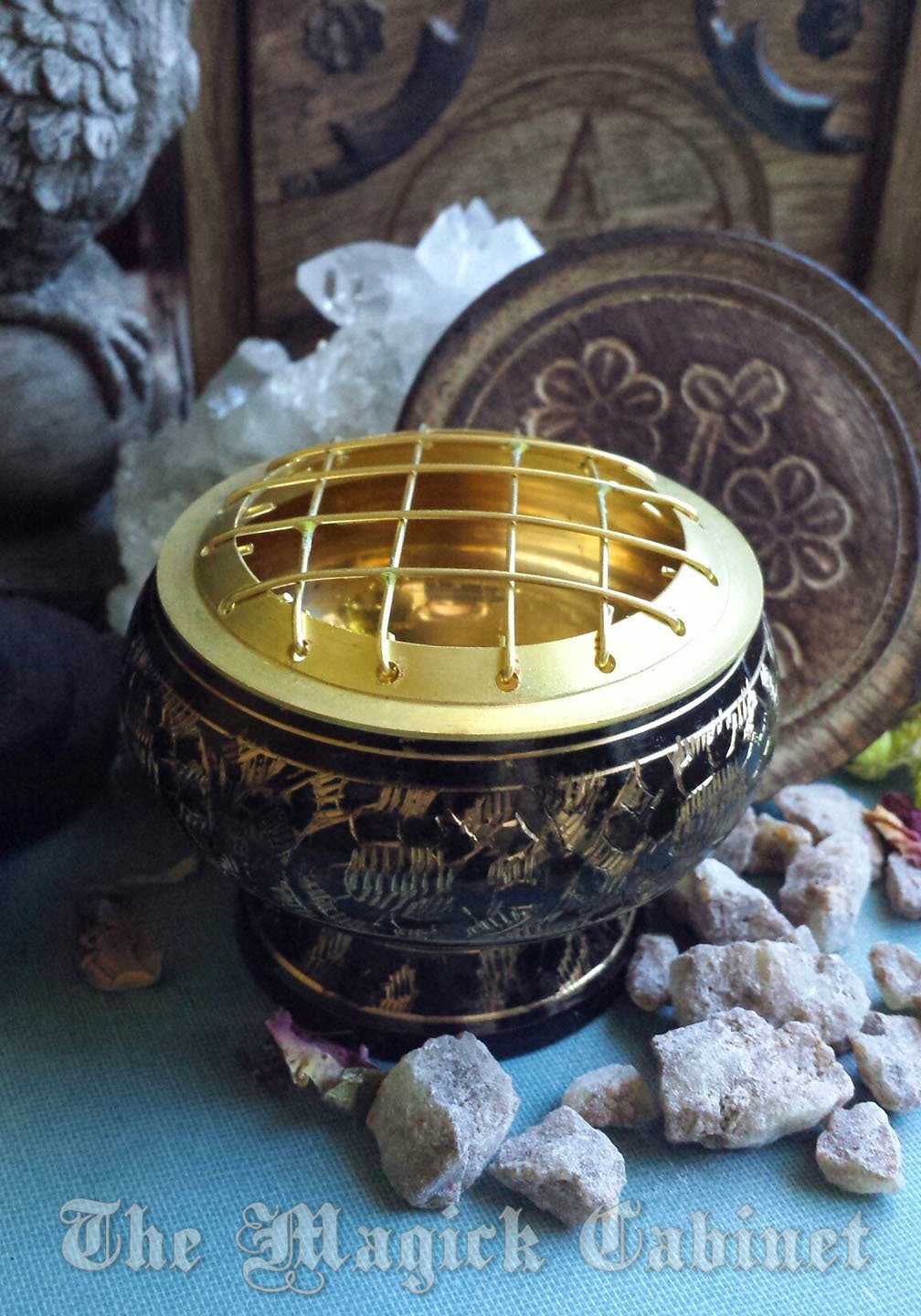 Delicately carved Brass Charcoal Burner for your Resin Incense  A valuable  and useful witchcraft and wicca altar tool
