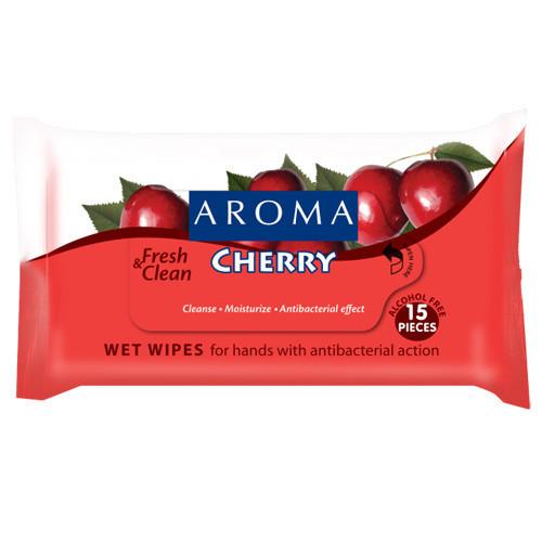 Влажные салфетки для очищения рук с антибактериальным эффектом Cherry Арома