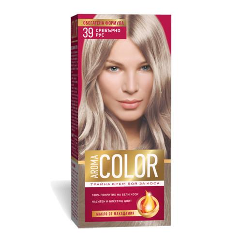 Крем- краска для волос № 39 Серебряно- русый Aroma Color 45 ml