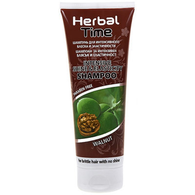 Шампунь для интенсивного блеска и эластичности Орех Herbal Time Роза Импекс 250 ml
