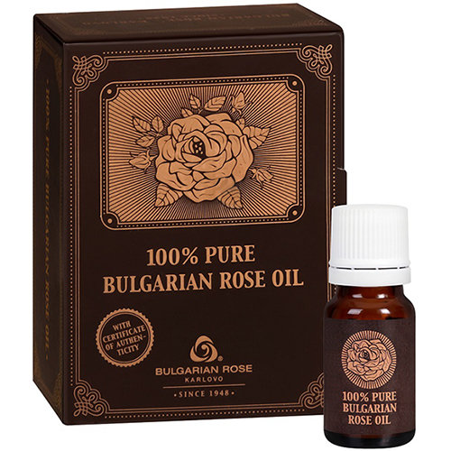 Розовое масло в стеклянном пузырьке в картонной коробке Болгарская Роза Карлово 10 ml