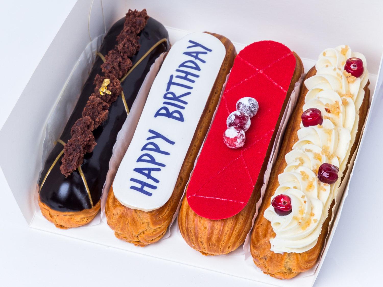 "Набір еклерів ""Happy birthday"" 4 шт №1"
