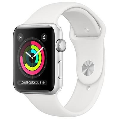 Умные часы Apple Watch Series 3, GPS, 42mm, корпус из серебристого алюминия, спортивный ремешок белого цвета
