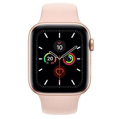 Умные часы Apple Watch Series 5, 40 мм, корпус из алюминия цвета «розовое золото», спортивный ремешок цвета «розовый песок»