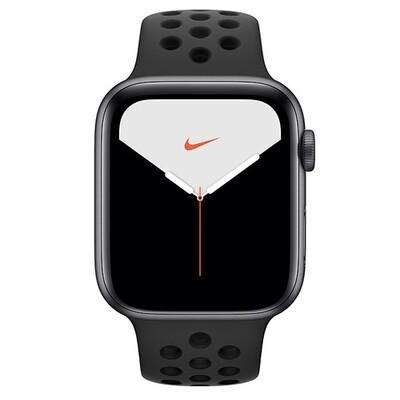 Умные часы Apple Watch Nike Series 5, 40 мм, корпус из алюминия цвета «серый космос», спортивный ремешок Nike цвета антрацитовый/черный