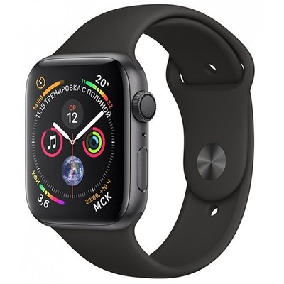 Умные часы Apple Watch Series 4, GPS, 44 мм, корпус из алюминия цвета «серый космос», спортивный ремешок черного цвета