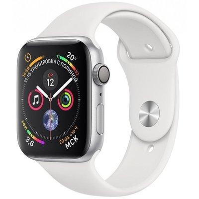 Умные часы Apple Watch Series 4, GPS, 44 мм, корпус из серебристого алюминия, спортивный ремешок белого цвета