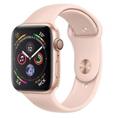 Умные часы Apple Watch Series 4, GPS, 44 мм, корпус из золотистого алюминия, спортивный ремешок цвета «розовый песок» (золотистый)
