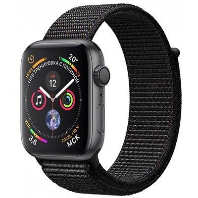 Умные часы Apple Watch Series 4, GPS, 44 мм, корпус из алюминия цвета «серый космос», спортивный браслет черного цвета