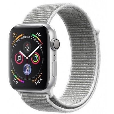 Умные часы Apple Watch Series 4, GPS, 44 мм, корпус из серебристого алюминия, спортивный браслет цвета «белая ракушка»