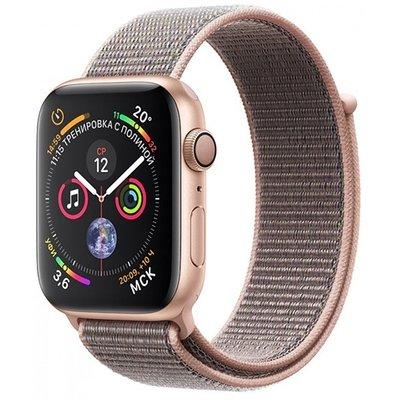 Умные часы Apple Watch Series 4, GPS, 44 мм, корпус из золотистого алюминия, спортивный браслет цвета «розовый песок» (золотистый)