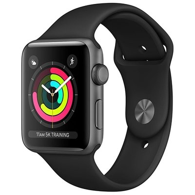 Умные часы Apple Watch Series 3, GPS, 38mm, корпус из алюминия цвета «серый космос», спортивный ремешок чёрного цвета