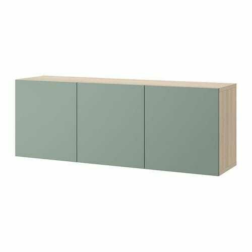 БЕСТО Комбинация настенных шкафов - под беленый дуб/Нотвикен серо-зеленый, 180x42x64 см