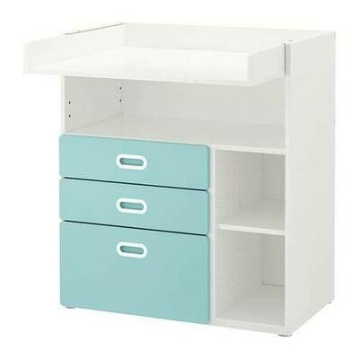 СТУВА / ФРИТИДС Пеленальный стол с ящиками - белый/голубой