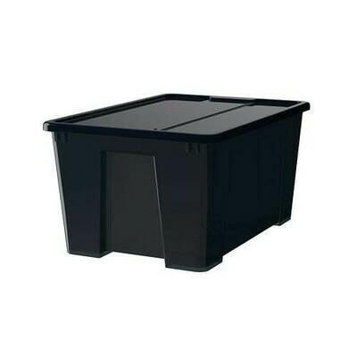 САМЛА Контейнер с крышкой - черный, 57x39x28 см/45 л