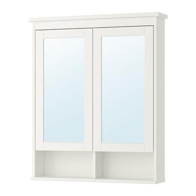 ХЕМНЭС Зеркальный шкаф с 2 дверцами - белый, 83x16x98 см