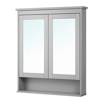 ХЕМНЭС Зеркальный шкаф с 2 дверцами - серый, 83x16x98 см