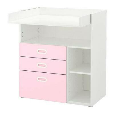 СТУВА / ФРИТИДС Пеленальный стол с ящиками - белый/светло-розовый