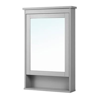 ХЕМНЭС Зеркальный шкаф с 1 дверцей - серый