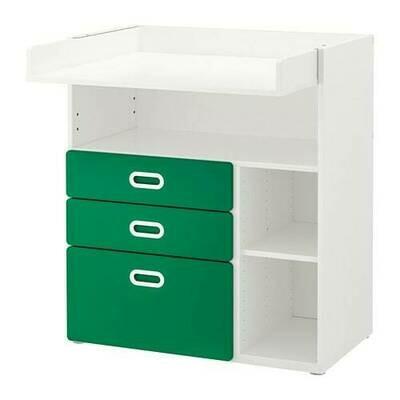 СТУВА / ФРИТИДС Пеленальный стол с ящиками - белый/зеленый