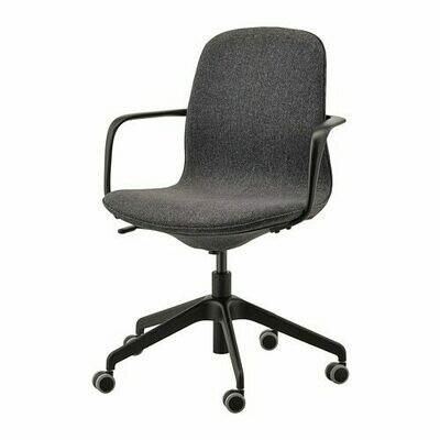 ЛОНГФЬЕЛЛЬ Рабочий стул с подлокотниками - Гуннаред темно-серый, Гуннаред темно-серый