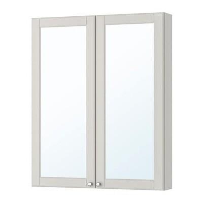 ГОДМОРГОН Зеркальный шкаф с 2 дверцами - Кашён светло-серый