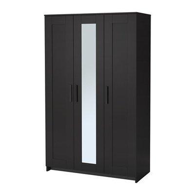 БРИМНЭС Шкаф платяной 3-дверный - черный